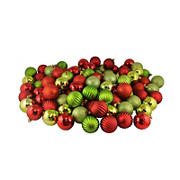 """Northlight Shatterproof 3-Finish 2.5"""" Christmas Ball Ornaments, 100 ct. - Red and Green"""