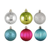 """Northlight Shatterproof 3-Finish Jewel Tone 2.5"""" Christmas Ball Ornaments, 100 ct. - Silver and Green"""