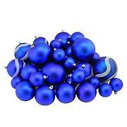"Northlight Shatterproof 2-Finish 4"" Christmas Ball Ornaments, 39 ct. - Royal Blue"