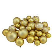 """Northlight Shatterproof 2-Finish 4"""" Christmas Ball Ornaments, 39 ct. - Gold Glamour"""