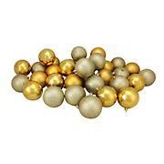 "Northlight Shatterproof 4-Finish 3.25"" Christmas Ball Ornaments, 32 ct. - Vegas Gold"