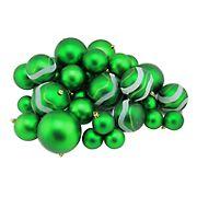 "Northlight Shatterproof 2-Finish 4"" Christmas Ball Ornaments, 39 ct. - Green"