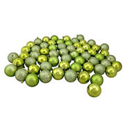 "Northlight Shatterproof 4-Finish 2.5"" Christmas Ball Ornaments, 60 ct. - Kiwi Green"