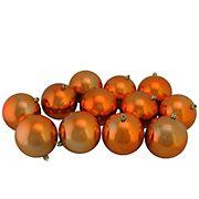 "Northlight Shatterproof 4"" Christmas Ball Ornaments, Set of 12 - Shiny Burnt Orange"