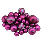 "Northlight Shatterproof 2-Finish 4"" Christmas Ball Ornaments, 39 ct. - Magenta Pink"