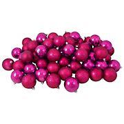 "Northlight 4-Finish Shatterproof 2.5"" Christmas Ball Ornaments, 60 ct. - Magenta Pink"