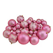 "Northlight Shatterproof 2-Finish 4"" Christmas Ball Ornaments, 39 ct. - Pink"