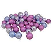 """Northlight Shatterproof 4-Finish 2.5"""" Christmas Ball Ornaments, 60 ct. - Pink and Purple"""