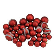 """Northlight Shatterproof 2-Finish 4"""" Christmas Ball Ornaments, 39 ct. - Red"""