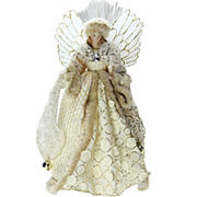 """Northlight 16"""" Angel in Sequined Gown Christmas Tree Topper - Ivory and Gold"""
