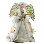 """Northlight 12"""" Lighted Fiber-Optic Angel in Gown with Harp Christmas Tree Topper - Gold and Cream"""