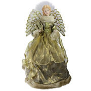 """Northlight 16"""" Lighted Angel in Gown with Harp Christmas Tree Topper - Gold and Brown"""
