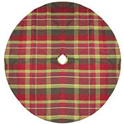 """Northlight 48"""" Rustic Woodland Christmas Tree Skirt with Green Trim - Red and Green Plaid"""