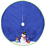 """Northlight Dyno 48"""" Snowman with Gifts Christmas Tree Skirt - Blue and White"""