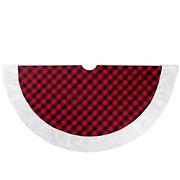 "Northlight 48"" Buffalo Plaid Christmas Tree Skirt with Faux Fur Trim - Red and Black"
