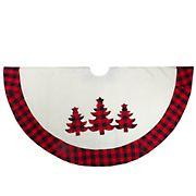 "Northlight 48"" Plaid Tree Christmas Tree Skirt - White, Red and Black Buffalo"