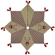 """Northlight 48"""" Burlap and Plaid Reindeer Christmas Tree Skirt with Tassels - Red and Brown"""