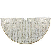 """Northlight 48"""" Wood Grain Pattern Christmas Tree Skirt - Ivory and Gold"""