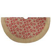 "Northlight 48"" Rustic Burlap Poinsettia Christmas Tree Skirt - Tan and Red"