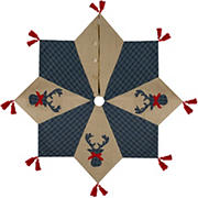 """Northlight 48"""" Burlap and Plaid Reindeer Christmas Tree Skirt with Tassels - Blue and Brown"""