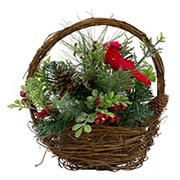 """Northlight 12"""" Cardinal with Berries in Twig Basket Christmas Decoration - Red and Green"""