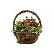"""Northlight 12"""" Pine Cones Berries Christmas Tabletop Decoration - Red and Green"""