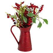 """Northlight 13"""" Foliage with Bell in Vintage Milk Jug Christmas Decoration - Red and Green"""