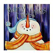 "Northlight ""Merry Christmas"" Snowman Christmas Canvas Wall Art - LED Lighted"