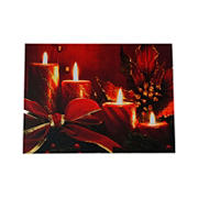 Northlight Red Glitter Striped Candles with Poinsettia and Bow Christmas Wall Art - LED Lighted