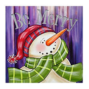 """Northlight """"Be Merry"""" Smiling Snowman Christmas Canvas Wall Art - LED Lighted"""