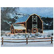 Northlight LED Fiber-Optic Snowy Red Barn Christmas Canvas Wall Art