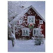 Northlight Fiber-Optic Red Snowy Barn House Christmas Wall Art - LED Lighted
