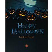 Northlight Jack-O'-Lanterns Happy Halloween Wall Art - Blue and Black LED Lighted