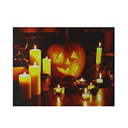 Northlight Witch's Jack-O'-Lantern Halloween Wall Art - Orange and Yellow LED Lighted