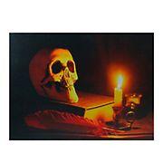 Northlight Skull Halloween Wall Art - Black and Orange LED Lighted