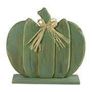 """Northlight 14"""" Slatted Halloween Tabletop Pumpkin with Bow - Blue"""
