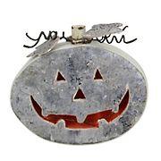 "Northlight 9.25"" LED Battery-Operated Jack-O-Lantern Halloween Tabletop Decoration - Gray"