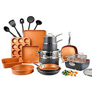 Gotham Steel Cook & Bakeware 20pc Set +5pc Bonus Tools, Grey/Copper
