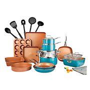 Gotham Steel Cook & Bakeware 20pc Set +5pc Bonus Tools, Turquoise/Copper