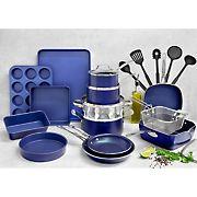 Granitestone Diamond Cook & Bakware 20pc Set +5pc Bonus Tools, Blue