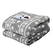 Biddeford Blankets Micro Plush Heated Throw with Digital Controller - Gray Snowflake