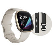 Fitbit Sense Advanced Smartwatch with One-Size Band and Bonus Small Band - Lunar White