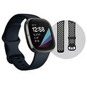 Fitbit Sense Advanced Smartwatch with One-Size Band and Bonus Small Band - Carbon