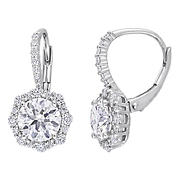 3.16 ct. DEW Created Moissanite Floral Halo Earrings in Sterling Silver