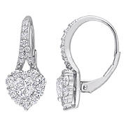 2 ct. DEW Created Moissanite Heart Halo Earrings in Sterling Silver