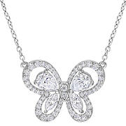 1.75 ct. t.g.w. Created Moissanite Butterfly Necklace in Sterling Silver