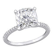 3.5 ct. DEW Created Moissanite and .1 ct. t.w. Diamond Engagement Ring in 14k White Gold - Size 8