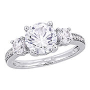 3 ct. t.g.w. Created White Sapphire and Diamond 3-Stone Ring in 10k White Gold - Size 9