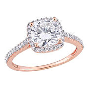 2 ct. DEW Created Moissanite and .25 ct. t.w. Diamond Halo Engagement Ring in 14k Rose Gold - Size 9