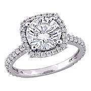 2.5 ct. DEW Created Moissanite Halo Engagement Ring in 10k White Gold - Size 8